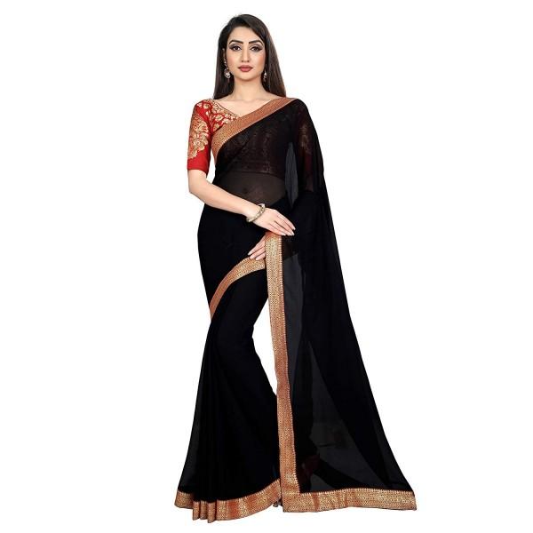 Kashvi Sarees Chiffon Solid Plain Saree With Lace Border And Unstitched Red Color Jacquard Blouse Piece 1470