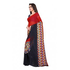 Kashvi Sarees Red Color Faux Georgette Saree With Unstitched Blouse Piece (1476)