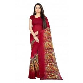 Kashvi Sarees Red Color Faux Georgette Saree With Unstitched Red Color Blouse Piece (1473)
