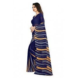 Kashvi Sarees Blue Color Faux Georgette Saree With Unstitched Blue Color Blouse Piece (1474)