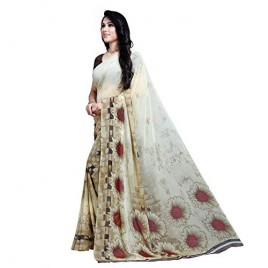 KASHVI SAREES Georgette with Blouse Piece Saree (1489_Cream_One Size)