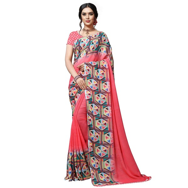 Kashvi sarees Georgette with Blouse Piece Saree (1515_Multicoloured_One Size)
