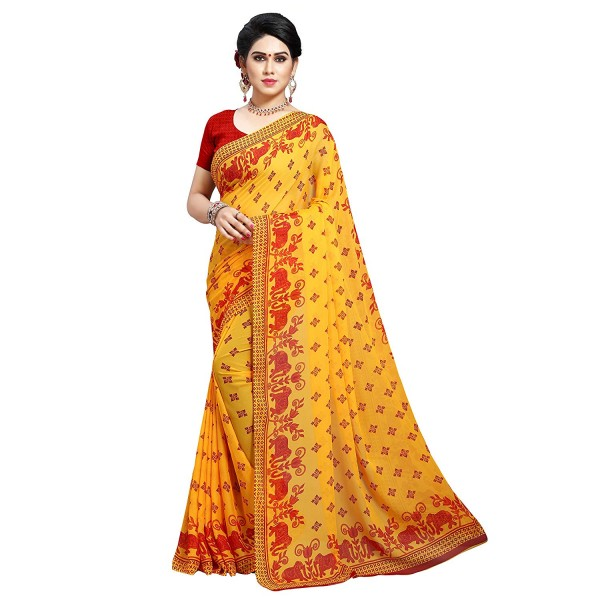 Kashvi Sarees MultiColor Faux Georgette Saree With Unstitched Blouse Piece (1545)