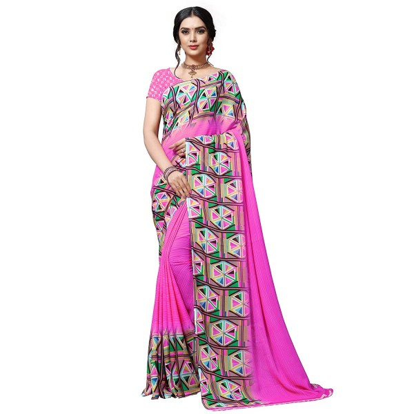 Kashvi sarees georgette with blouse piece Saree (1515_2_ Multicoloured_ One Size)