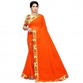 Kashvi sarees Chiffon Solid Plain Saree With Bangalori Silk Unstitched Blouse Piece (1553)