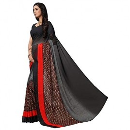 Kashvi sarees Black Color Faux Georgette Saree With Unstitched Blouse Piece (1554)