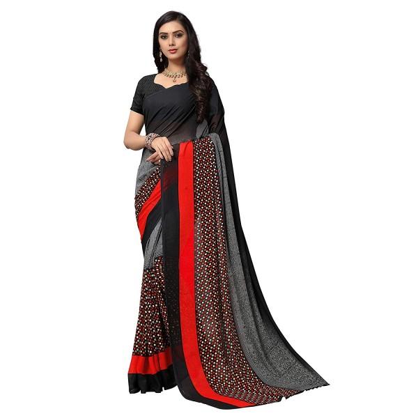 Kashvi sarees Black Color Faux Georgette Saree With Unstitched Blouse Piece (1554)