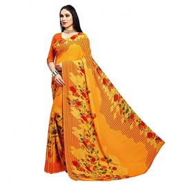 Kashvi Sarees Yellow Georgette Floral Checks Printed Saree with Blouse Piece