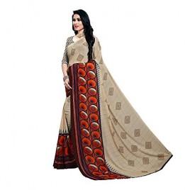 Kashvi Sarees Cream Faux Georgette Printed Saree with Blouse Piece