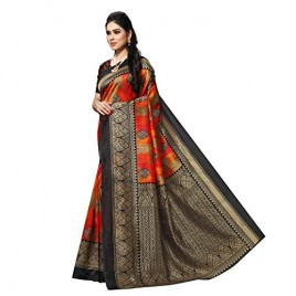 Kashvi Sarees Lichi Bhagalpuri Silk Blend Paisley Floral Print Woven Saree with Blouse Piece