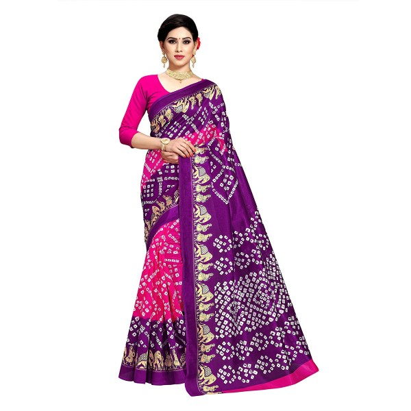 Kashvi Sarees Bhagalpuri Silk Bandhni Print Saree With Unstitched Blouse for Women