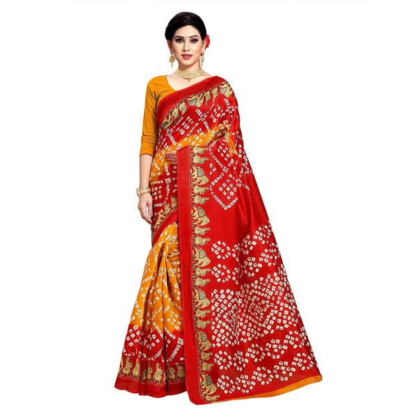 Kashvi Sarees Bhagalpuri Silk Bandhni Print Saree With Unstitched Blouse for Women