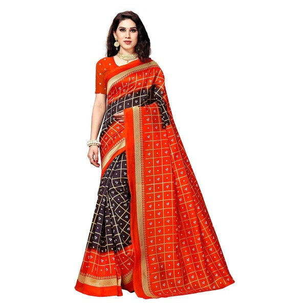 Kashvi Sarees Bhagalpuri Silk Printed Women's Saree with Unstitched Blouse Piece