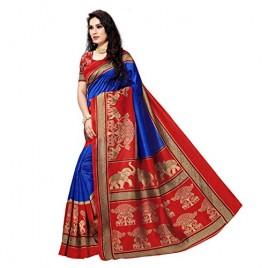 Kashvi Sarees Bhagalpuri Silk Printed Women's Saree with Unstitched Blouse Piece