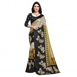 Kashvi Sarees Women's Khadi Silk Floral Checks Printed Saree with Blouse Piece