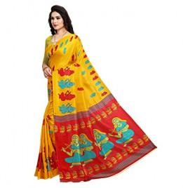 Chrome Yellow Printed Khadi Silk Saree with Blouse Piece