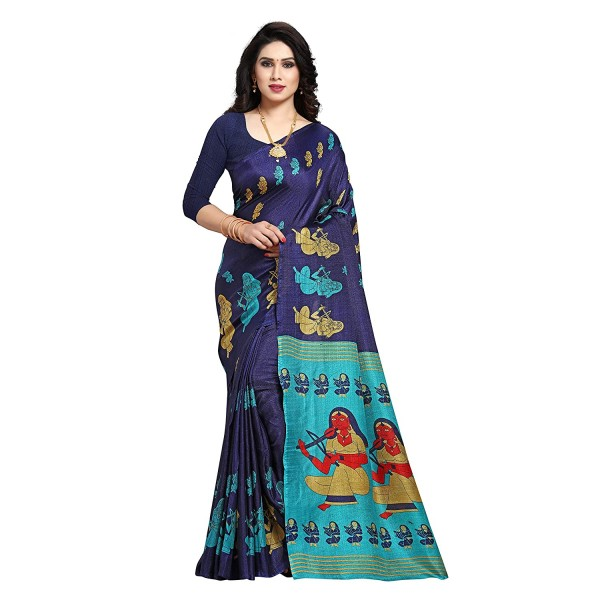 Anand Sarees silk with blouse piece Saree (1605_1_ Blue_ One Size)
