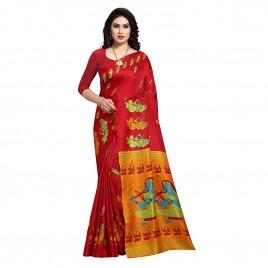 Brick Red Printed Khadi Silk Saree with Blouse Piece