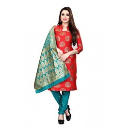 Kashvi Jacquard Silk Blend Woven Design Salwar Suit Dupatta Material for Women(Multicolored,Free Size)