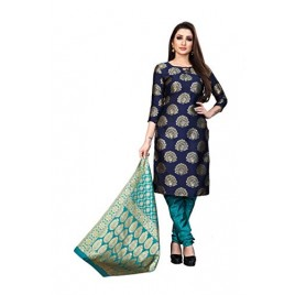 Kashvi Multicolored Jacquard Silk Woven Design Women's Salwar Suit Dupatta Dress Material(Free Size)