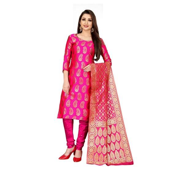 Kashvi Jacquard Silk Blend Woven Design Salwar Suit Dupatta Dress Material for Women(Free Size)