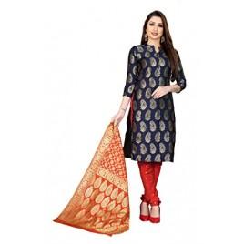 Kashvi Jacquard Silk Blend Woven Design Salwar Suit Dupatta Material for Women(Free Size)