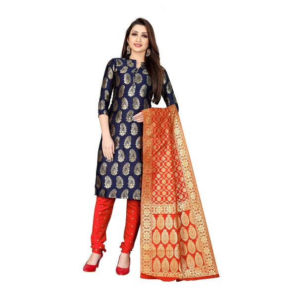 Kashvi Jacquard Silk Blend Woven Design Salwar Suit Dupatta Material for Women(Free Size)