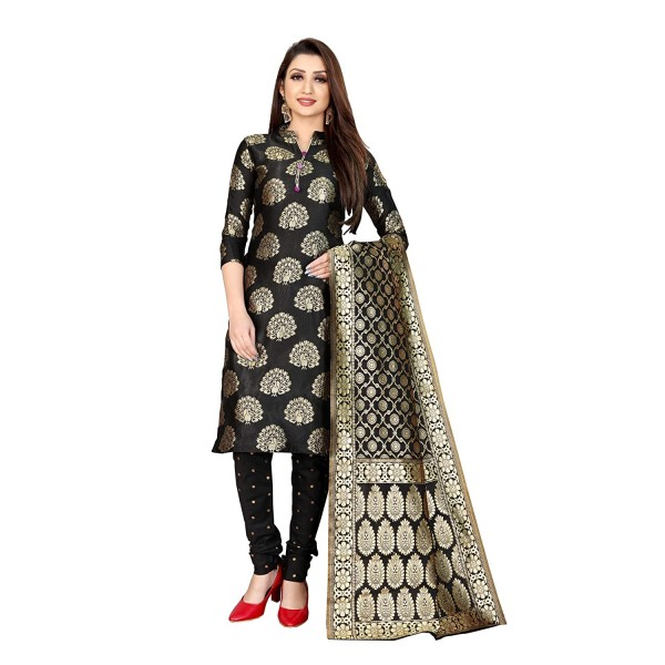 Kashvi Free Size Jacquard Silk Blend Woven Design Salwar Suit Dupatta Material for Women