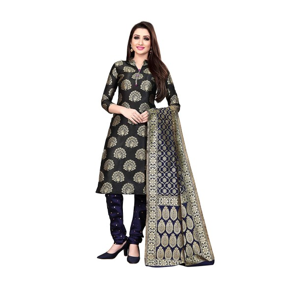 Kashvi Jacquard Silk Blend Woven Design Salwar Suit Dupatta Material for Women(Multicolored,Free Size)