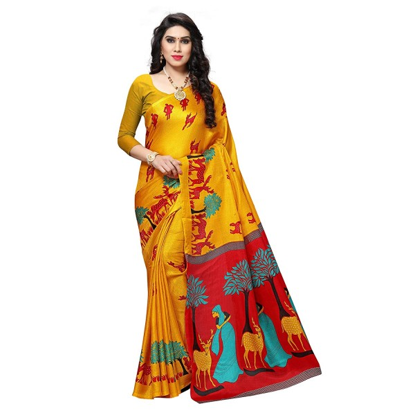 Chrome Yellow Printed Khadi Silk Saree with Blouse Piece