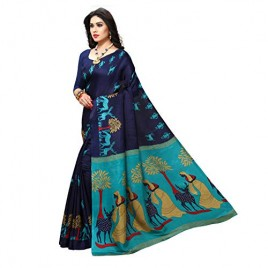 Navy Blue Printed Khadi Silk Saree with Blouse Piece