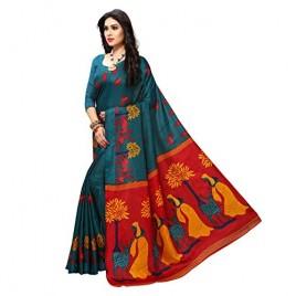 Teal Green Printed Khadi Silk Saree with Blouse Piece