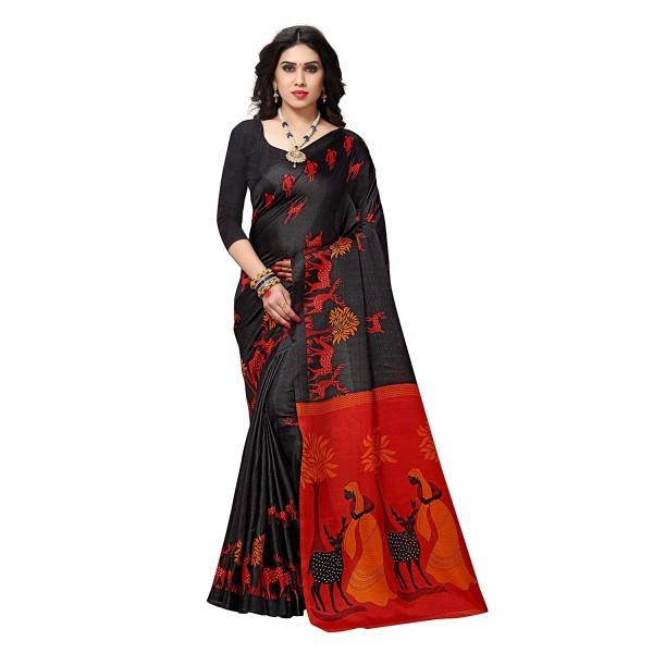 Elegant Black Printed Khadi Silk Saree with Blouse Piece