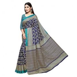 Kashvi Sarees Women's Printed Khadi Silk Saree with unstitched blouse piece