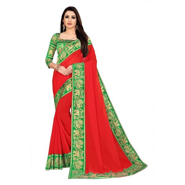 Kashvi Sarees Chiffon Saree with Green unstitched Blouse Piece