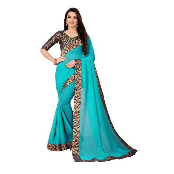 Kashvi Sarees Laced Chiffon Saree with Blue unstitched Blouse Piece