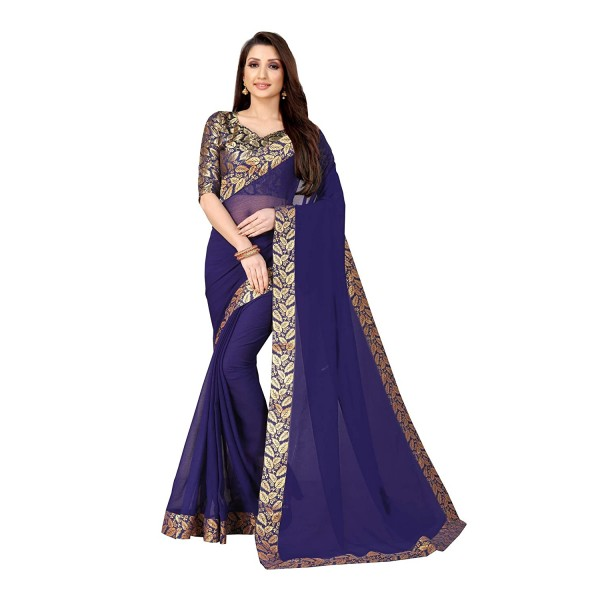 Kashvi Sarees Laced Chiffon Saree with Blue unstitched Blouse Piece