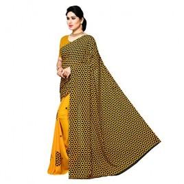 Kashvi Sarees Half and Half Yellow Georgette Saree with Blouse Piece