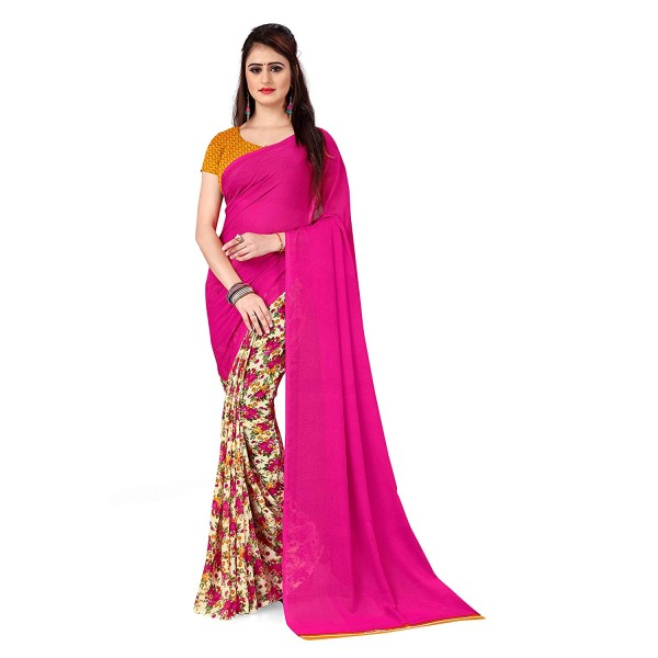 Kashvi Sarees Georgette with Blouse Piece Saree (AS_1436_Pink_One Size)