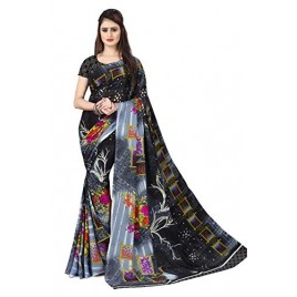 Kashvi Sarees georgette with Blouse Piece Saree (AS_1285_1_ Blue_ One Size)