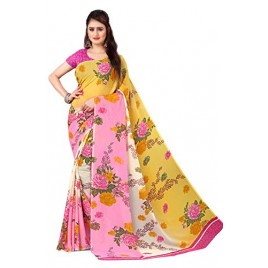 Kashvi Sarees Georgette with Blouse Piece Saree (AS_1301_Pink_One Size)
