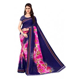 Kashvi Sarees Georgette with Blouse Piece Saree (AS_1412_Blue_One Size)