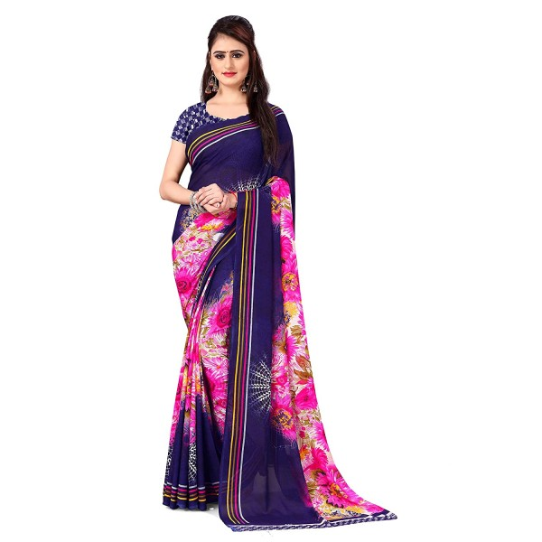 Kashvi Sarees Georgette with Blouse Piece Saree (AS_1412_Blue_One Size)