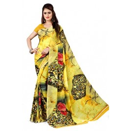 Kashvi Sarees Georgette with Blouse Piece Saree (AS_1339_ Yellow_ One Size)
