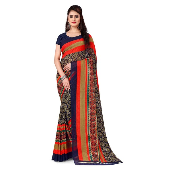 Kashvi Sarees Georgette with Blouse Piece Saree (AS_1499_ Blue_ One Size)