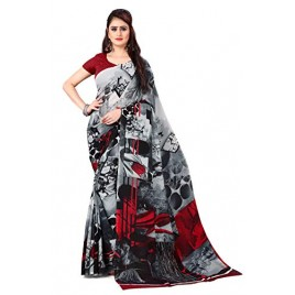 Kashvi Sarees georgette with Blouse Piece Saree (AS_1370_ Black_ One Size)