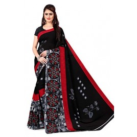 Kashvi Sarees georgette with blouse piece Saree (AS_1469_ Black_ One Size)