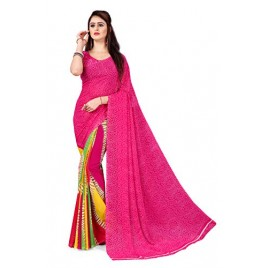 Kashvi Sarees Georgette with Blouse Piece Saree (AS_1338_Pink_One Size)