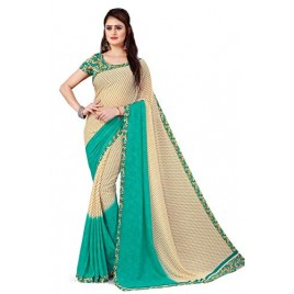 Kashvi Sarees georgette with Blouse Piece Saree (AS_1194_2_ Blue_ One Size)