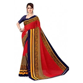Kashvi Sarees georgette with Blouse Piece Saree (AS_1560_ Red_ One Size)